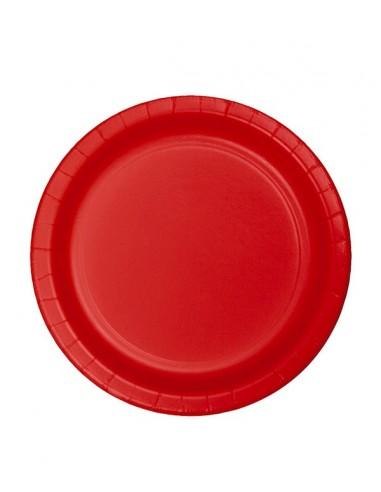 8 Assiettes en Carton Rouge - 23cm