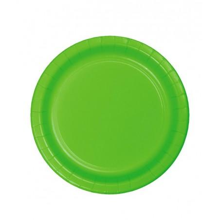 8 Assiettes en Carton Vert citron - 23cm