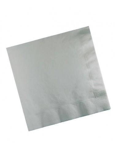 Sachet 20 Serviettes en papier 33cm Argent pour vos réceptions