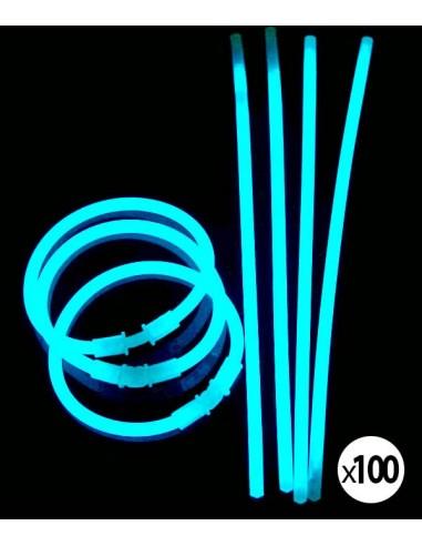Bracelets Lumineux fluorescent  de couleur bleu turquoise une fois activés