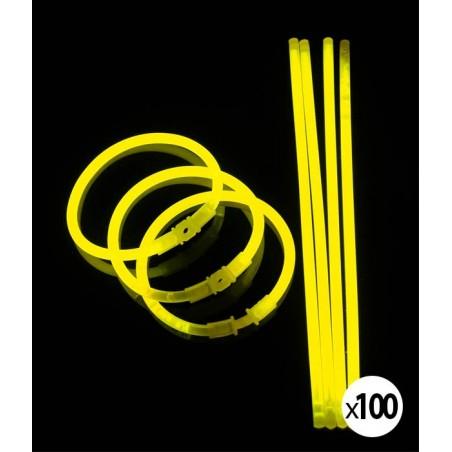 Bracelets Lumineux fluorescent  de couleur jaune fluo une fois activés