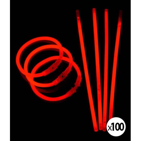 Bracelets Lumineux fluorescent  de couleur rouge une fois activés