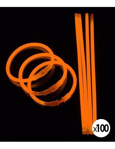Bracelets Lumineux fluorescent  de couleur orange une fois activés