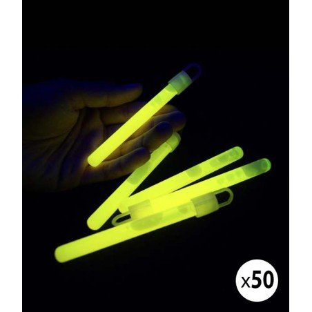 50 Bâtons Fluo Lumineux 10 cm Jaune - Superbrite® - Glow Sticks
