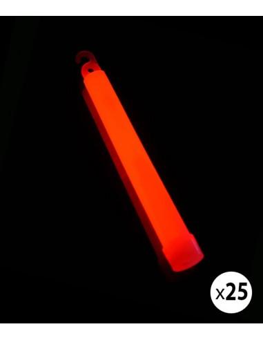 25 Bâtons Lumineux Fluo 15 cm Rouge