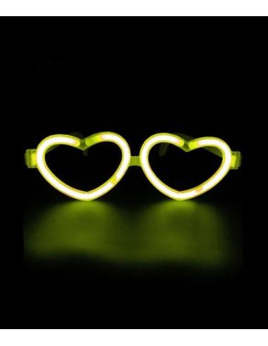 Lunettes Fluorescentes LOVE Jaune en forme de coeur, Brillent dans le noir après avoir été activées