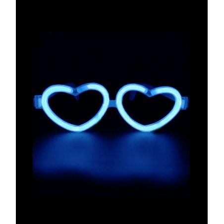 Lunettes Fluorescentes LOVE Bleues en forme de coeur, Brillent dans le noir après avoir été activées