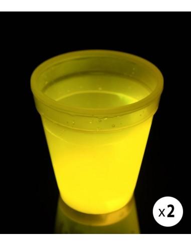 2 Verres Lumineux Fluorescent PowerGlass™ 35 cl - Jaune - Décorez votre bar avec ces verres fluorescent à double paroi