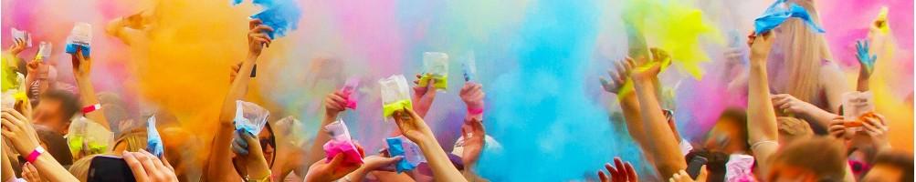 Poudre HOLI colorée pour Festival, color run, course de nuit